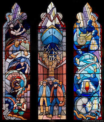 Industrial heritage stained glass window, by Joseph Nuttgens, St Mary's Catholic Cathedral, Newcastle